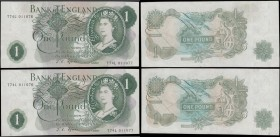 One Pounds Fforde QE2 portrait & seated Britannia 'slip & stick' ERROR pair B305 (BY Error Ref. E3h) issue 1967 (2) matching different ERROR serial nu...