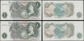 One Pounds Fforde QE2 portrait & seated Britannia B308 Green G (Goebel) Reverse Replacement issue 1967 (2) a consecutively numbered pair serial number...