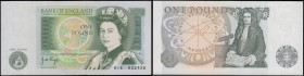 One Pound Page QE2 pictorial & Sir Isaac Newton B339a Green Experimental issue 1978 serial number 81R 932436, UNC and Exceptionally Rare and very seld...