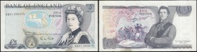 Five Pounds Gill B353 Blue L (Lithography) 1mm Security thread issue 1988 very FIRST RUN and LOW BINARY serial number RD01 000070, about UNC with a sm...