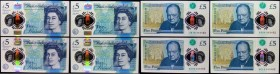 Five Pounds Cleland QE2 & Sir Winston Churchill B414 Polymer issue 2016 (4) a matching serial number set 353462 prefixes AK02, AK04, AK13 and AK18, al...