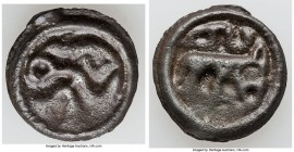 NORTHEAST GAUL. Gallia Belgica. Remi Tribe. Ca. 80-20 BC. Cast potin unit (21mm, 4.93 gm, 3h). VF. Warrior walking right, torque behind in right hand,...