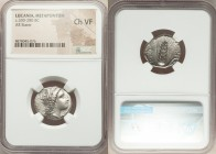 LUCANIA. Metapontum. Ca. 330-280 BC. AR stater (21mm, 6h). NGC Choice VF. Head of Demeter right, crowned with grain; ΔAI before / META, grain ear with...