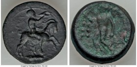 SICILY. Himera. Ca. 420-407 BC. AE hemilitra or hexonkia (6.80 gm). Fine. Reduced litra standard II. Pan, nude, riding goat to right, blowing into con...