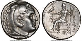 MACEDONIAN KINGDOM. Alexander III the Great (336-323 BC). AR tetradrachm (25mm, 17.21 gm, 3h). NGC XF 5/5 - 4/5, brushed. Posthumous issue of Amphipol...