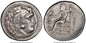 THRACIAN KINGDOM. Lysimachus (305-281 BC). AR tetradrachm (30mm, 17.10 gm, 12h). NGC Choice XF 3/5 - 4/5. Posthumous issue of Colophon, 299-296 BC. He...