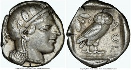 ATTICA. Athens. Ca. 455-440 BC. AR tetradrachm (25mm, 17.19 gm, 5h). NGC Choice VF 5/5 - 4/5. Early transitional issue. Head of Athena right, wearing ...