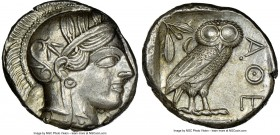 ATTICA. Athens. Ca. 440-404 BC. AR tetradrachm (25mm, 17.20 gm, 9h). NGC MS 5/5 - 4/5, brushed. Mid-mass coinage issue. Head of Athena right, wearing ...