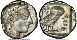 ATTICA. Athens. Ca. 440-404 BC. AR tetradrachm (23mm, 17.21 gm, 7h). NGC MS 5/5 - 4/5, brushed. Mid-mass coinage issue. Head of Athena right, wearing ...