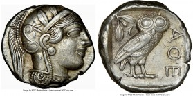 ATTICA. Athens. Ca. 440-404 BC. AR tetradrachm (25mm, 17.19 gm, 5h). NGC AU 5/5 - 5/5. Mid-mass coinage issue. Head of Athena right, wearing crested A...