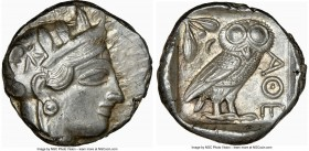 ATTICA. Athens. Ca. 440-404 BC. AR tetradrachm (24mm, 17.28 gm, 7h). NGC AU 4/5 - 5/5. Mid-mass coinage issue. Head of Athena right, wearing crested A...