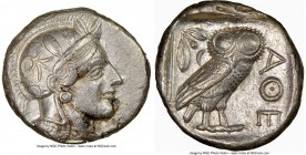 ATTICA. Athens. Ca. 440-404 BC. AR tetradrachm (24mm, 17.18 gm, 11h). NGC AU 5/5 - 3/5, edge cut. Mid-mass coinage issue. Head of Athena right, wearin...