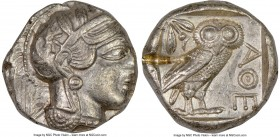 ATTICA. Athens. Ca. 440-404 BC. AR tetradrachm (24mm, 17.19 gm, 6h). NGC AU 4/5 - 2/5, test cut. Mid-mass coinage issue. Head of Athena right, wearing...