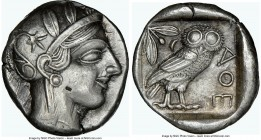 ATTICA. Athens. Ca. 440-404 BC. AR tetradrachm (24mm, 17.16 gm, 1h). NGC Choice XF 5/5 - 3/5. Mid-mass coinage issue. Head of Athena right, wearing cr...