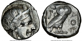 ATTICA. Athens. Ca. 440-404 BC. AR tetradrachm (23mm, 17.18 gm, 4h). NGC Choice XF 3/5 - 4/5. Mid-mass coinage issue. Head of Athena right, wearing cr...