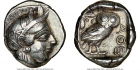 ATTICA. Athens. Ca. 440-404 BC. AR tetradrachm (25mm, 17.17 gm, 1h). NGC XF 5/5 - 4/5. Mid-mass coinage issue. Head of Athena right, wearing crested A...