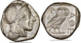 ATTICA. Athens. Ca. 440-404 BC. AR tetradrachm (24mm, 17.24 gm, 11h). NGC XF 5/5 - 3/5. Mid-mass coinage issue. Head of Athena right, wearing crested ...