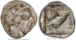 ATTICA. Athens. Ca. 440-404 BC. AR tetradrachm (24mm, 17.18 gm, 2h). NGC XF 4/5 - 4/5. Mid-mass coinage issue. Head of Athena right, wearing crested A...