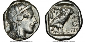 ATTICA. Athens. Ca. 440-404 BC. AR tetradrachm (25mm, 17.19 gm, 5h). NGC Choice VF 4/5 - 5/5. Mid-mass coinage issue. Head of Athena right, wearing cr...