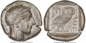 ATTICA. Athens. Ca. 440-404 BC. AR tetradrachm (25mm, 17.19 gm, 1h). NGC Choice VF 5/5 - 3/5. Mid-mass coinage issue. Head of Athena right, wearing cr...