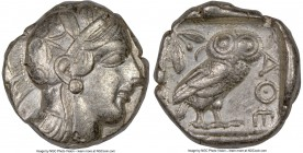ATTICA. Athens. Ca. 440-404 BC. AR tetradrachm (23mm, 17.16 gm, 1h). NGC Choice VF 4/5 - 3/5. Mid-mass coinage issue. Head of Athena right, wearing cr...