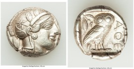 ATTICA. Athens. Ca. 440-404 BC. AR tetradrachm (25mm, 17.20 gm, 11h). Choice XF. Mid-mass coinage issue. Head of Athena right, wearing crested Attic h...