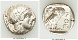 ATTICA. Athens. Ca. 440-404 BC. AR tetradrachm (24mm, 17.18 gm, 5h). AU. Mid-mass coinage issue. Head of Athena right, wearing crested Attic helmet or...