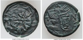 BOSPORAN KINGDOM. Late Spartocid Kings. Ca 304-250 BC. AE (19mm, 6.53 gm, 12h). VF. Pantikapaion. Head of beardless satyr left, wearing ivy wreath; in...