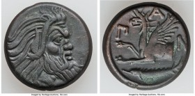CIMMERIAN BOSPORUS. Panticapaeum. 4th century BC. AE (21mm, 8.08 gm, 11h). Choice VF. Head of bearded Pan right / Π-A-N, forepart of griffin left, stu...
