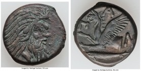 CIMMERIAN BOSPORUS. Panticapaeum. 4th century BC. AE (21mm, 68.32 gm, 12h). Choice VF. Head of bearded Pan right / Π-A-N, forepart of griffin left, st...