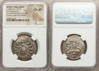 MYSIA. Pergamum. Ca. 180/167-133 BC. AR cistophorus (29mm, 12h). NGC Choice XF. Ca. 160-150 BC. Serpent emerging from cista mystica; all within ivy wr...