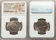 MYSIA. Pergamum. Ca. 180/167-133 BC. AR cistophorus (31mm, 11h). NGC Choice XF. Ca. 160-150 BC. Serpent emerging from cista mystica; all within ivy wr...