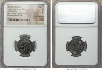 IONIA. Smyrna. Ca. 95-85 BC. AE (21mm, 9.08 gm, 11h). NGC AU 4/5 - 3/5, adjusted flan. Nikias and Leptos, magistrates. Laureate head of Apollo right /...