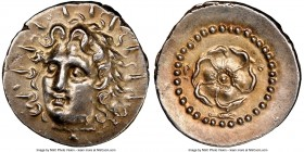 CARIAN ISLANDS. Rhodes. Ca. 84-30 BC. AR drachm (20mm, 3.97 gm, 12h). NGC AU S 5/5 - 4/5. Radiate head of Helios facing, turned slightly left, hair pa...