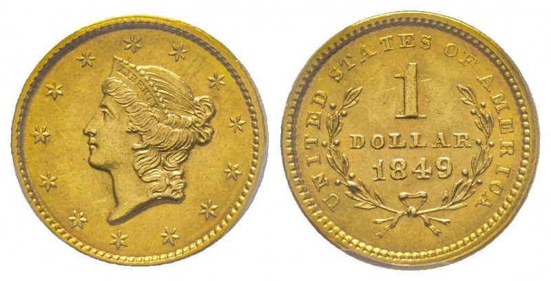 USA 1 Dollar, Philadelphia, 1849, Open Wreath, AU 1.67 g.  Ref : Fr. 84, KM#73 C...