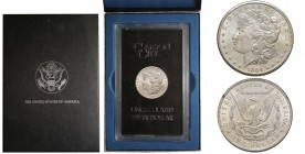 Morgan Dollar, Carson City, 1883 CC, AG Conservation : FDC, GSA Holder with box and stamp