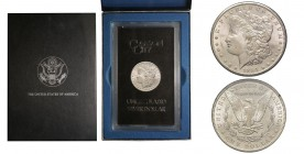 Morgan Dollar, Carson City, 1884 CC, AG Conservation : FDC, GSA Holder with box and stamp