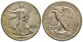 Half Dollar 1942, Philadelphia, Walking Liberty AG 12.5 g. Conservation : Superbe