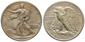 Half Dollar 1942, Philadelphia, Walking Liberty AG 12.5 g. Conservation : FDC