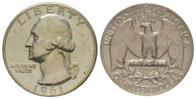 Quarter Dollar, 1961, Washington, AG 6.25 g. Conservation : FDC