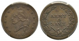 Patriotic token 1863, Copper F-12/297 Army and Navy  PCGS AU55