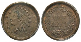 Patriotic token 1863, Copper F-63/366 Not One Cent PCGS MS62 BN