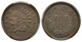 Patriotic token 1863, Copper F-63/366 Not One Cent PCGS AU58