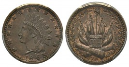 Patriotic token 1863, Copper F-83/352A Indian Crossed Cannons PCGS MS63 BN