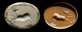 A roman burnt agate intaglio. Deer. 