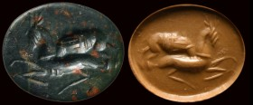 A roman heliotrope intaglio. Hunting scene. 