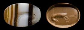A roman italic banded agate intaglio. Shrimp.