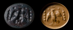 A roman heliotrope intaglio. Military emblema.