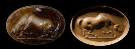 A fine roman two-layers agate intaglio. Horse.