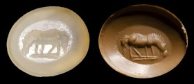 A roman chalcedony intaglio. Horse.